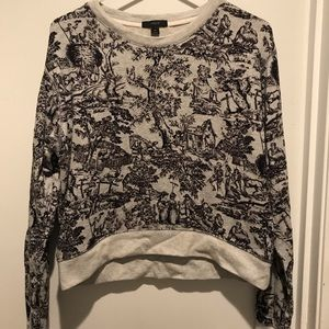 XS JCrew cropped sweatshirt French Toile pattern